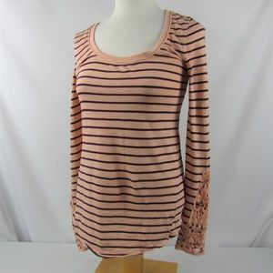 Free People Top Tee Small Stripe Lace Cuff Cotton